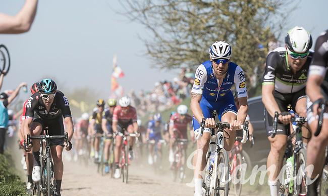 Tom Boonen (BEL/Quick-Step Floors) on sector 27: Quiévy to Saint-Python<br /> <br /> 115th Paris-Roubaix 2017 (1.UWT)<br /> One day race: Compiègne > Roubaix (257km)