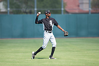 Chicago White Sox left fielder Cabera Weaver (1) during an Instructional League game against the Oakland Athletics at Lew Wolff Training Complex on October 5, 2018 in Mesa, Arizona. (Zachary Lucy/Four Seam Images)