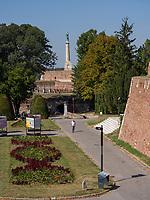 Statue Pobednik - Der Sieger beim Ravelin, Festung,  Belgrad, Serbien, Europa<br /> Statue of the Victor Pobednik  in the fortress Kalemegdan,  Belgrade, Serbia, Europe
