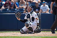 Scranton/Wilkes-Barre RailRiders catcher Donny Sands (33) on defense against the Rochester Red Wings at PNC Field on July 25, 2021 in Moosic, Pennsylvania. (Brian Westerholt/Four Seam Images)