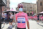 Race leader Maglia Rosa Joao Almeida (POR) Deceuninck-Quick Step at sign on before the start of Stage 10 of the 103rd edition of the Giro d'Italia 2020 running 177km from Lanciano to Tortoreto, Italy. 13th October 2020.  <br /> Picture: LaPresse/Gian Mattia D'Alberto | Cyclefile<br /> <br /> All photos usage must carry mandatory copyright credit (© Cyclefile | LaPresse/Gian Mattia D'Alberto)