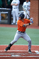 Chase Keng (4) of the UTSA Roadrunners at bat against the Charlotte 49ers at Hayes Stadium on April 18, 2021 in Charlotte, North Carolina. (Brian Westerholt/Four Seam Images)