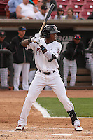 Wisconsin Timber Rattlers outfielder Monte Harrison (3) at bat during a game against the Cedar Rapids Kernels on May 4th, 2015 at Fox Cities Stadium in Appleton, Wisconsin.  Cedar Rapids defeated Wisconsin 9-3.  (Brad Krause/Four Seam Images)