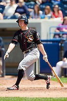 Jesse Wierzbicki (35) of the Quad Cities River Bandits follows through on his swing against the West Michigan Whitecaps at Fifth Third Ballpark on May 5, 2013 in Comstock Park, Michigan.  The River Bandits defeated the Whitecaps 5-4.  (Brian Westerholt/Four Seam Images)
