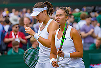 London, England, 5 th. July, 2018, Tennis,  Wimbledon, Womans doubles: Lesley Kerkhove (NED) and Lidziya Marozava (BLR) (L)<br /> Photo: Henk Koster/tennisimages.com