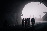 Mist coming out of the Passo del Turchino tunnel (532m); the highest point of the race<br /> <br /> 109th Milano-Sanremo 2018<br /> Milano > Sanremo (291km)
