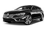 Stock pictures of low aggressive front three quarter view of 2016 Renault Talisman Initiale-Paris 5 Door Wagon Low Aggressive