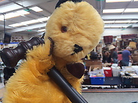 "BNPS.co.uk (01202 558833)<br /> Pic: Hansons/BNPS<br /> <br /> Pictured: The Original Sooty Puppet owned by Harry Corbett with the auctioneers gavel.<br /> <br /> An iconic old Sooty TV puppet which Harry Corbett gave to a friend has emerged for sale for £1,200.<br /> <br /> The children's show inventor Harry Corbett gifted it to biology teacher Paul Mouncey, from Comrie, Perthshire, Scotland, in the mid-1970s.<br /> <br /> His daughter Tina Stewart, a veterinary receptionist from Dunblane, is now selling the hand puppet with Hanson's Auctioneers, of Etwall, Derbys.<br /> <br /> Mrs Stewart, a veterinary receptionist from Dunblane, Scotland, said: ""We took Sooty along with us and after the show met Richard - who immediately new our puppet was an original."
