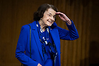 """United States Senator Dianne Feinstein (Democrat of California), Ranking Member, US Senate Judiciary Committee, arrives for the Senate Judiciary Committee hearing titled """"Examining Best Practices for Incarceration and Detention During COVID-19,"""" in Dirksen Building in Washington, D.C. on Tuesday, June 2, 2020.<br /> Credit: Tom Williams / Pool via CNP/AdMedia"""