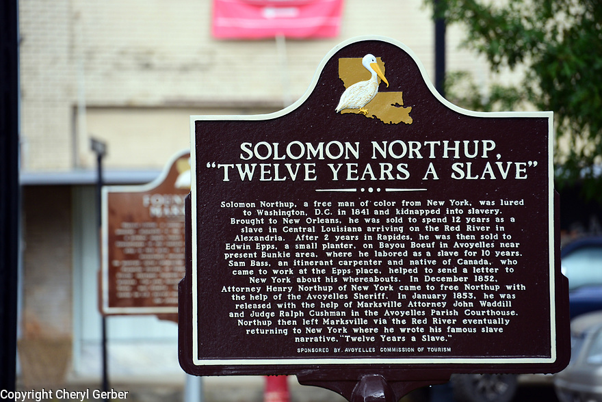 """""""Twelve Years a Slave"""" placard outside of the town hall in Marksville, La., Sept. 17, 2017."""