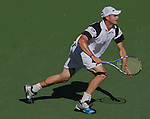 March 20, 2009.Andy Roddick in action, defeating Novak Djokovic in the quarter final of the BNP Paribas Open, Indian Wells, CA