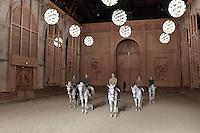 Demonstration du spectacle La Voix de l'Ecuyer choregraphie par Bartabas pour les ecuyers de l'Academie equestre de Versailles - Conference de presse de lancement du 1er Jumping International du Chateau de Versailles prevu du 5 au 7 mai 2017 - Grande Ecurie du Roi Versailles - 21 fevrier 2017 - Versailles - France
