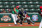 ABERDEEN, MD - AUGUST 01: Victor Sanchez #13 of Mexico hits a three run RBI single against Canada in a game between Mexico and Canada during the Cal Ripken World Series at The Ripken Experience Powered by Under Armour on August 1, 2016 in Aberdeen, Maryland. (Photo by Ripken Baseball/Eclipse Sportswire/Getty Images)