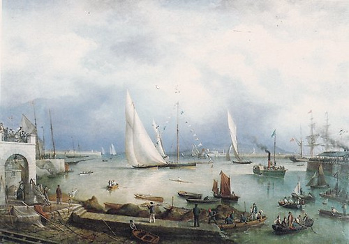 The Royal St George YC regatta course of 1871 included a turning mark – in this case one of the large racing cutters – within the harbour for the entertainment of spectators. From the painting by Richard Brydges Beechey, courtesy RStGYC.