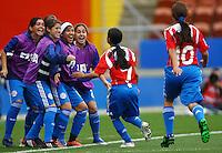 Paraguay celebrate the goal of Rebeca Fernandez (PAR)..FIFA U17 Women's World Cup, Paraguay v USA, Waikato Stadium, Hamilton, New Zealand, Sunday 2 November 2008. Photo: Renee McKay/PHOTOSPORT
