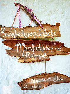 Deutschland, Bayern, Chiemgau, Inzell: auf der Baeckeralm - 'Speisekarte'   Germany, Upper Bavaria, Chiemgau, Inzell: alpine pasture hut Baeckeralm  'menu'