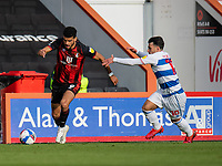 Bournemouth's Dominic Solanke (left) under pressure from Queens Park Rangers' Ilias Chair (right) <br /> <br /> Photographer David Horton/CameraSport<br /> <br /> The EFL Sky Bet Championship - Bournemouth v Queens Park Rangers - Saturday 17th October 2020 - Vitality Stadium - Bournemouth<br /> <br /> World Copyright © 2020 CameraSport. All rights reserved. 43 Linden Ave. Countesthorpe. Leicester. England. LE8 5PG - Tel: +44 (0) 116 277 4147 - admin@camerasport.com - www.camerasport.com