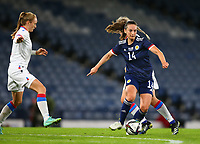 21st September 2021; Hampden Park, Glasgow, Scotland: FIFA Womens World Cup qualifying, Scotland versus Faroe Islands; Chloe Arthur of Scotland on the ball