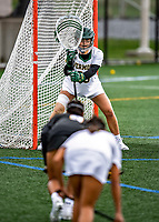 17 April 2021: University of Vermont Catamount Goalkeeper Sophie McLaughlin, a Junior from Keene, NH,  in action against the UMBC Retrievers at Virtue Field in Burlington, Vermont. The Lady Cats fell to the Retrievers 11-8 in the America East Women's Lacrosse matchup. Mandatory Credit: Ed Wolfstein Photo *** RAW (NEF) Image File Available ***