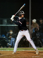 Riverview Rams Clay Russin (19) bats during a game against the Sarasota Sailors on February 19, 2021 at Rams Baseball Complex in Sarasota, Florida. (Mike Janes/Four Seam Images)