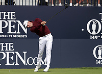 16th July 2021; Royal St Georges Golf Club, Sandwich, Kent, England; The Open Championship Tour Golf, Day Two; Justin Thomas (USA) hits his driver from the 1st tee