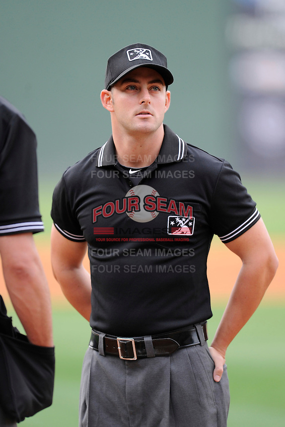 Umpire Ben Sonntag works a game between the Greenville Drive and the Savannah Sand Gnats on Thursday, May 7, 2015, at Fluor Field at the West End in Greenville, South Carolina. (Tom Priddy/Four Seam Images)