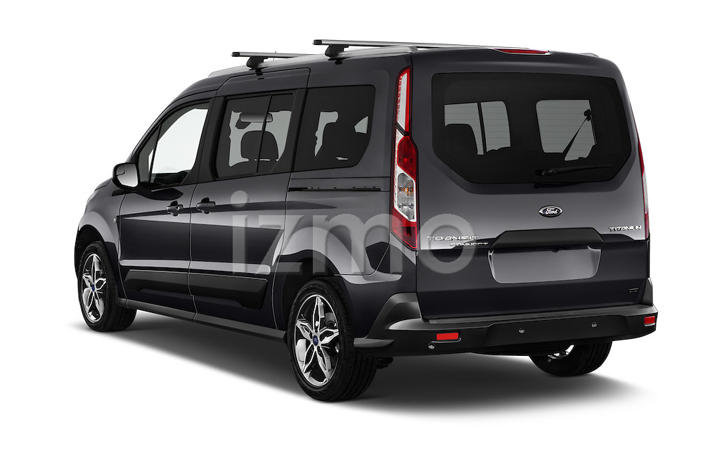 Car pictures of rear three quarter view of 2018 Ford Transit Connect Titanium 5 Door Mini Mpv Angular Rear