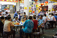 Families Eating at Lou Wong Restaurant, Famous for Chicken, Rice, and Bean Sprouts (Tauge Ayam), an Ipoh Specialty.  Ipoh, Malaysia.
