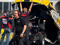 May 4, 2018; Commerce, GA, USA; Crew member for NHRA funny car driver Jonnie Lindberg during qualifying for the Southern Nationals at Atlanta Dragway. Mandatory Credit: Mark J. Rebilas-USA TODAY Sports