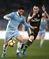 Calcio, Serie A: Lazio, Stadio Olimpico, 13 febbraio 2017.<br /> Lazio's Felipe Anderson (l) in action with Milan's Lucas Ocampos (r) during the Italian Serie A football match between Lazio and Milan at Roma's Olympic Stadium, on February 13, 2017.<br /> UPDATE IMAGES PRESS/Isabella Bonotto
