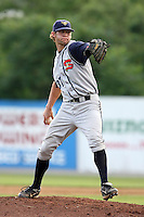 July 7th 2008:  Brian Leach of the State College Spikes, Class-A affiliate of the Pittsburgh Pirates, during a game at Damaschke Field in Oneonta, NY.  Photo by:  Mike Janes/Four Seam Images