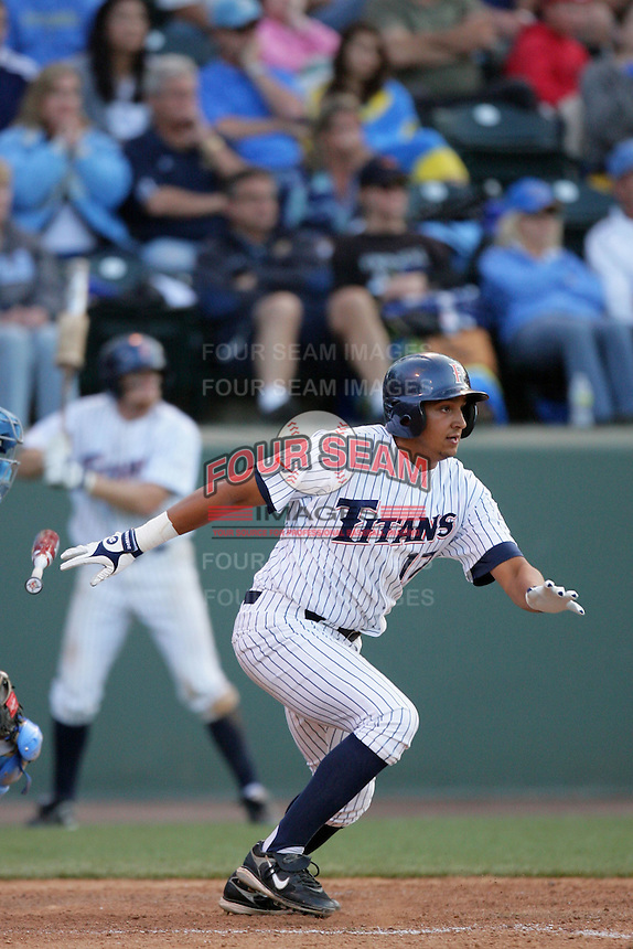 Carlos Lopez of the Cal.St. Fullerton Titans during game against the UCLA Bruins at Jackie Robinson Stadium in Los Angeles,California on June 12, 2010. Photo by Larry Goren/Four Seam Images