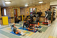 Pictured: Players work out in the reception area of the stadium. Thursday 18 January 2018<br /> Re: Players and staff of Newport County Football Club prepare at Newport Stadium, for their FA Cup game against Tottenham Hotspur in Wales, UK