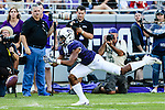 TCU Horned Frogs wide receiver Jaelan Austin (15) in action during the game between the Texas Tech Red Raiders and the TCU Horned Frogs at the Amon G. Carter Stadium in Fort Worth, Texas.