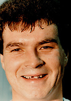 1985 FILE PHOTO - ARCHIVES -<br /> <br /> Chris Kotsopoulos, left, flashes a smile. The defenceman, acquired from Hartford Whalers Monday for winger Stewart Gavin, missed the pre-season and has been off skates for four days. He probably will make his Leaf debut in a weekend game, here Saturday against Quebec Nordiques or Sunday in Chicago.<br /> <br /> 1985<br /> <br /> PHOTO :  Frank Lennon - Toronto Star Archives - AQP