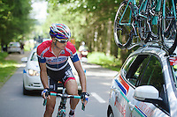 Johnny Hoogerland (NLD/Androni Giocattoli-Venezuela) checking in with the team car<br /> <br /> Ster ZLM Tour 2014