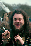 Legalise Pot campaign Hyde Park London 1979 smoking a joint. 1970s UK