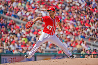 14 April 2013: Washington Nationals pitcher Gio Gonzalez on the mound against the Atlanta Braves at Nationals Park in Washington, DC. The Braves shut out the Nationals 9-0 to sweep their 3-game series. Mandatory Credit: Ed Wolfstein Photo *** RAW (NEF) Image File Available ***