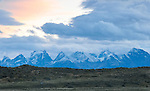 A snow capped mountain range in Los Glaciares National Park.