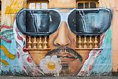 Olinda, Pernambuco State, Brazil. Graffiti; Maracatu bearded man with window sunglasses - street art, mural.