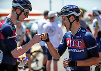 Stage winner Alex Frame bumps fists with JLT Condor teammate Ed Bradbury (left) after stage five of the NZ Cycle Classic UCI Oceania Tour in Masterton, New Zealand on Tuesday, 26 January 2017. Photo: Dave Lintott / lintottphoto.co.nz