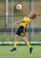 20200820 - TUBIZE , Belgium : Belgium's Axel Bosteels makes a control during a friendly match between Belgian national women's youth soccer team called the Red Flames U17 and Union Saint-Ghislain Tetre , on the 20th of August 2020 in Tubize.  PHOTO: Sportpix.be | SEVIL OKTEM