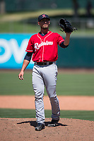 Tacoma Rainiers relief pitcher Shawn Armstrong (43) during a Pacific Coast League game against the Sacramento RiverCats at Raley Field on May 15, 2018 in Sacramento, California. Tacoma defeated Sacramento 8-5. (Zachary Lucy/Four Seam Images)