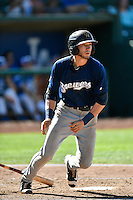Lucas Erceg (4) of the Helena Brewers at bat against the Ogden Raptors in Pioneer League action at Lindquist Field on July 17, 2016 in Ogden, Utah. Ogden defeated Helena 5-4.  (Stephen Smith/Four Seam Images)