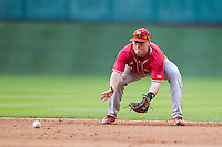 Nebraska Cornhuskers second baseman Jake Schleppenbach (6) fields a ground ball during Houston College Classic against the Texas A&M Aggies on March 6, 2015 at Minute Maid Park in Houston, Texas. Texas A&M defeated Nebraska 2-1. (Andrew Woolley/Four Seam Images)