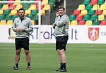 FK Trakai v St Johnstone…05.07.17… Europa League 1st Qualifying Round 2nd Leg<br />St Johnstone training at the LFF Stadium in Vilnius, Lithuania….Pictured Manager Tommy Wright during the training session with Callum Davidson<br />Picture by Graeme Hart.<br />Copyright Perthshire Picture Agency<br />Tel: 01738 623350  Mobile: 07990 594431