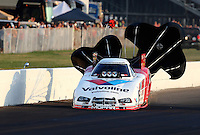 Aug. 30, 2013; Clermont, IN, USA: NHRA funny car driver Jack Beckman during qualifying for the US Nationals at Lucas Oil Raceway. Mandatory Credit: Mark J. Rebilas-