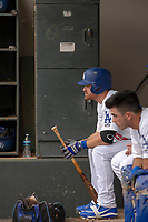 Los Angeles Dodger Logan Forsythe (50) on rehab assignment playing for the Rancho Cucamonga Quakes awaiting his at bat in the dugout during the game against the Visalia Rawhide at LoanMart Field on May 13, 2018 in Rancho Cucamonga, California. The Quakes defeated the Rawhide 3-2.  (Donn Parris/Four Seam Images)