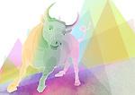 Illustration of bull representing profit in stock market
