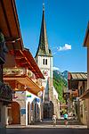 Oesterreich, Salzburger Land, Pongau, Gasteiner Tal, Dorfgastein: Dorfzentrum mit Pfarrkiche | Austria, Salzburger Land, region Pongau, Gastein Valley, Dorfgastein: willage centre with parish church